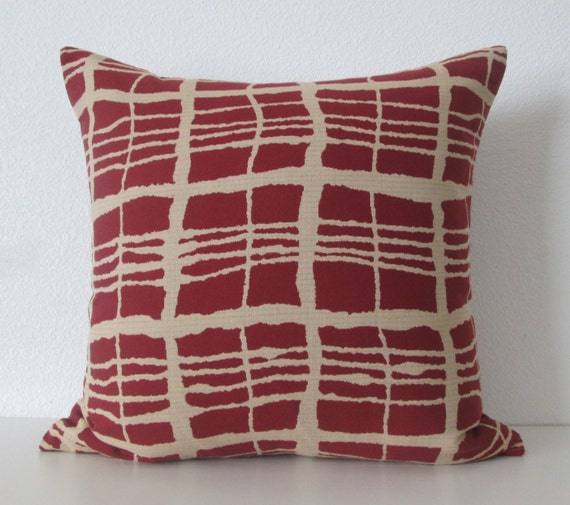 red brown geometric stripes decorative pillow by chicdecorpillows. Black Bedroom Furniture Sets. Home Design Ideas
