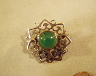 Vintage 1981 Hallmarked Sterling Silver Pin With Green Stone Cabochon Edinburgh Scotland 8701