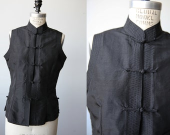 Vintage Black Asian Top Sleeveless Blouse Stand Mandarin Collar  M-L