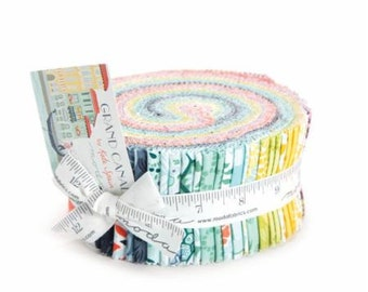 Jelly Roll Grand Canal Moda Cotton Quilt Fabric Strips (40) 2.5 inch Strips Blue Green Floral Fabric Patchwork Quilt Fabric