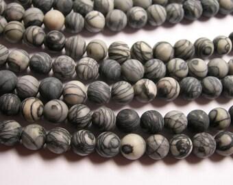 Silk Stone matte - 8mm- round bead - 70 beads - full strand - matte - Spider Jasper - RFG1044