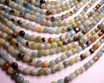 Amazonite -  full strand - nugget - rounded pebble - 42 beads - A quality - 8mm x 10mm -  PSC298