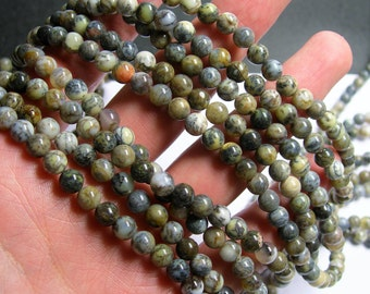 Dendritic Opal - 6 mm round beads - full strand - 66 beads - RFG411