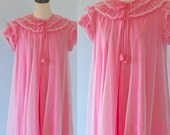 40% OFF SALE Vintage 1960s Chiffon Lingerie Robe . 50s 60s Sheer Pink Layered Ruffles Peignoir NEGLIGEE . Size Medium
