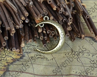 8 pc Antique Bronze Tone Moon Charms ,Crescent Moon Charms and Findings, Pendant Findings , Jewelry Findings,