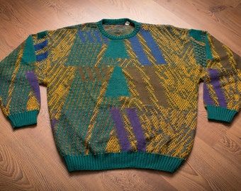 Pronto Uomo Crewneck Sweater, Italy, Super Ugly Color Combo, Vintage 90s