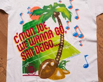San Francisco 49ers T-Shirt, C'mon Joe Montana, WMZQ Promo, Vintage 80s