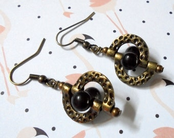 Black Onxy and Brass Earrings (2998)
