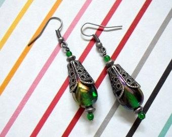 Irredescent Emerald Green Earrings (2424)