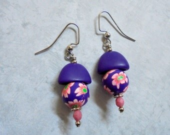 Funky Purple and Pink Flower Earrings (2519)