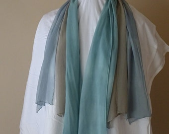Set of 3 chiffon scarves blue brown 100% silk chiffon scarf no fringe plain work office bulk