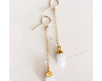 Tiny moonstone spike dangle earrings/ faceted moonstone dagger earrings / bridal earrings / spike drop earrings