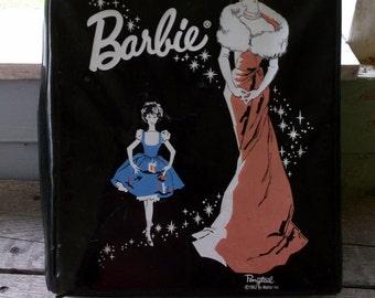 Vintage 1962 Ponytail Barbie doll storage case Black with Evening Gown Barbie