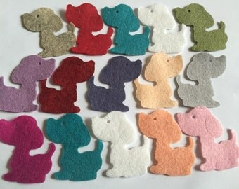 Wool Felt Dog Die Cuts 15 Count - Random Colored 3237