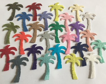 Wool Felt Palm Tree Die Cuts 25 - 1 5/8 inch Random Colored 3240 - Summer Crafts - DIY