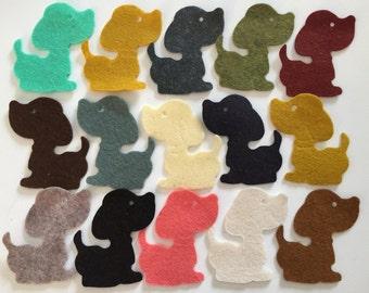 Wool Felt Dog Die Cuts 15 Count - Random Colored 3349