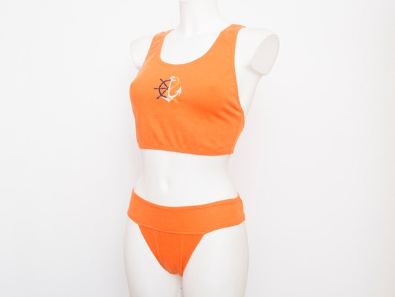 hight cut 90s bikini NOS Vintage orange Size S