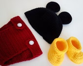 Mickey mouse crochet hat, diapier cover and booties