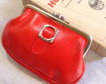 60s French VTG Change PURSE red faux leather