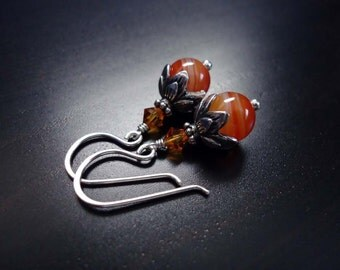 Agate and Crystal Earrings, Topaz Crystal, Swarovski Crystal,Orange, Red Banded Agate, Crystal Jewelry, Sterling Silver