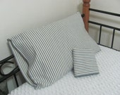 Two Vintage Blue Stripe Pillow Ticking Cover Cases