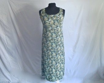 Vintage 90's Floral Ankle-Length Tank-Dress with Strappy Tie-Back by Tickets® Size 3/4