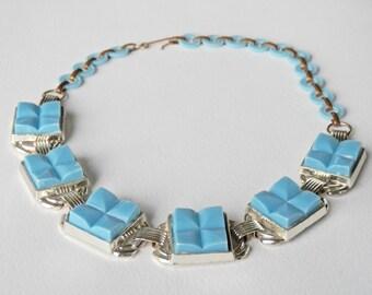 Repurposed Vintage Necklace, Vintage Plastics, Lucite Jewelry, Light Blue Plastic, Vintage Choker, Chunky