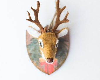 Deer {Stag} Head Ornament     Rustic Woodland Christmas Decorations   Gifts Under 10