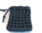 Crochet Mesh Soap Saver - Cotton Soap Bag with Drawstring - Cotton Soap Envelope in Navy Blue