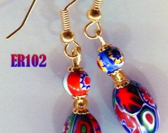 ER102 Moretti Oval MILLEFIORI VENETIAN Murano Earrings
