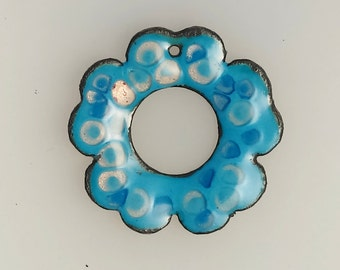 Enamel Jewelry Findings- Pendant, Turquoise Blossom 2015 F-3
