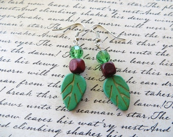 Howlite Leaves With Wood Cubes And Green Faceted Crystal Beaded Drop Earrings