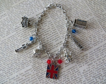 England Themed Silver Charm and Crystal Bracelet