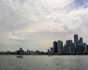 Chicago Skyline Photo Print- Windy Illinois Cityscape and Lake