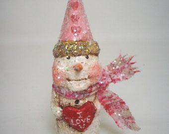 Valentine's Day Paper Mache Folk Art Snowman
