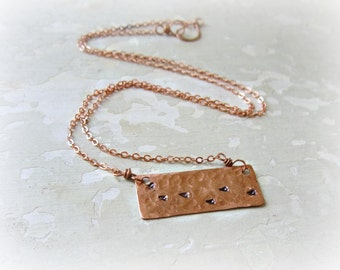 Bird Print Necklace,Stamped Pendant,Copper Necklace, Hammered Pendant,Copper Jewelry, Metalwork Copper, FootPrint Necklace, Copper Pendant