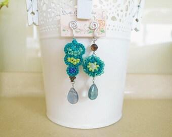 Crochet Lace Jewelry (Lace Fantasia 3-b) Fiber Jewelry, Clip Earrings, Crochet Earrings, Gemstone, Ring Set