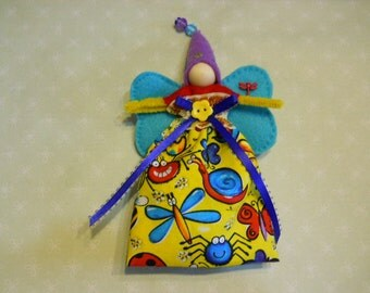 Fairy Doll in Bright Bugs Fabric with Teal Wings and Lavender Hat, Child's Fairy Doll Toy, Child's Fantasy Fairy Doll