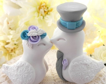 Love Birds Wedding Cake Topper, White, Lilac, Turquoise and Gray, Bride and Groom Keepsake, Fully Customizable