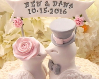 Wedding Cake Topper Love Birds, White, Blush Pink and Grey, Custom Banner - Bride and Groom Keepsake