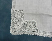 White Handkerchief with Lace Hem and Deep Lace Corner