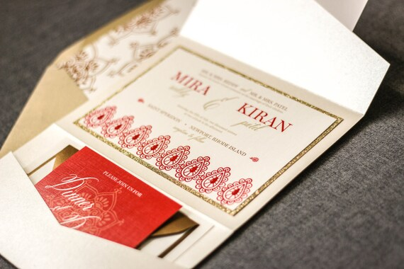 Indian Wedding Invitations Henna Red And