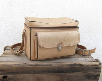 Large Camera Bag Distressed Tan Leather by The Sportsman