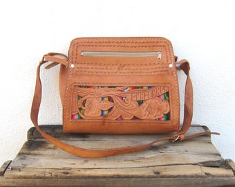 Hobo Floral Tooled Tan Leather Satchel Shoulder Bag