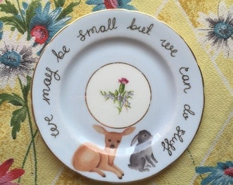 """Vintage Bunny and Deer """"We may be small"""" Vintage Illustrated Plate"""