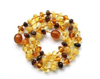 """14.6"""" Natural Baltic Amber child necklace,  teenager neclace, polished beads, mixed colors amber necklace, round beads"""