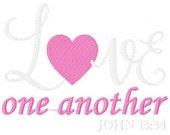 Love One Another Heart Valentine 5x7 Machine Embroidery Design Instant Download Joyful Stitches