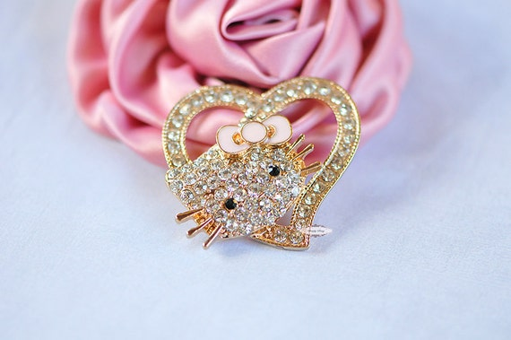 Rhinestone Crystal Bling Kitty Flatback Metal Embellishment Button Adornment - Add to Iphone Favors Accessories Invitations Frames