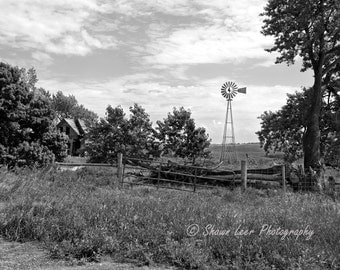 South Dakota Prairie Landscape Windmill, Log  Fence & Farmhouse