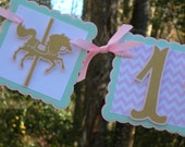 Carousel Highchair Banner in Pink, Mint and Gold MADE TO ORDER